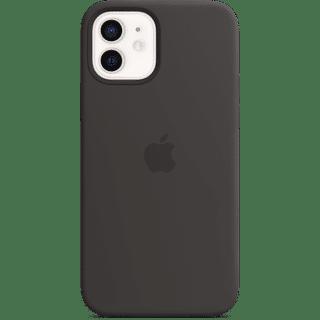 Apple iPhone 12|12 Pro Silikon Case mit MagSafe Schwarz Frontansicht